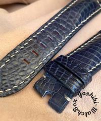 クロコダイル レザー 腕時計ベルト ブルー (ラグ幅26mm - バックル幅22mm) cro-395