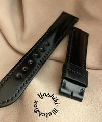 コードバン レザー 腕時計ベルト ブラック (ラグ幅20mm - バックル幅18mm) cod-04