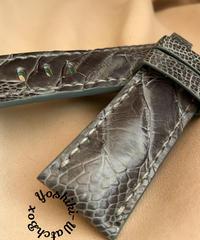 オーストリッチレザー 腕時計ベルト グレー (ラグ幅24mm - バックル幅22mm) ost-107