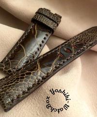 オーストリッチレザー 腕時計ベルト ダークブラウン (ラグ幅22mm - バックル幅20mm) ost-74
