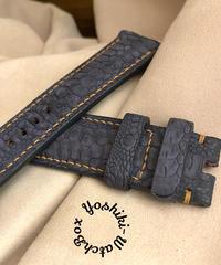 チキン レザー 腕時計ベルト ブラック (ラグ幅24mm - バックル幅22mm) chi-33