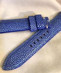 スティングレイ レザー 腕時計ベルト ブルー 22mm-20mm  STI-6