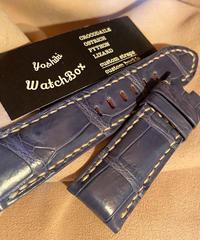 クロコダイル レザー 腕時計ベルト ブルー 24mm-22mm CRO-193