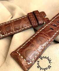 クロコダイル レザー 腕時計ベルト ブラウン (ラグ幅24mm - バックル幅22mm) cro-390