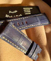 クロコダイル レザー 腕時計ベルトブルー 26mm-22mm CRO-202