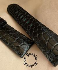 クロコダイル レザー 腕時計ベルト ブラック (ラグ幅26mm - バックル幅22mm) cro-505