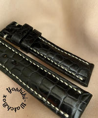 クロコダイル レザー 腕時計ベルト ブラック (ラグ幅20mm - バックル幅18mm) cro-496