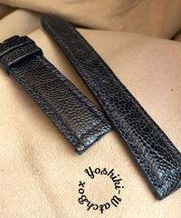 オーストリッチレザー 腕時計ベルト ネイビー (ラグ幅20mm - バックル幅18mm) ost-89