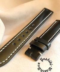 cod-49 コードバン レザー 腕時計ベルト ブラック (ラグ幅18mm - バックル幅16mm)