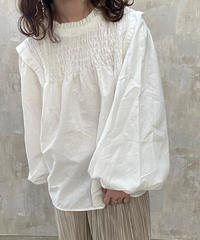 shirring blouse white