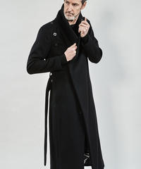 ys Yuji SUGENO (イース ユウジ スゲノ) 210331104-BLACK / Beaver Wool High Color Wrap Maxi Coat