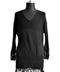 Bennu (ヴェンヌ)110320302/ Cotton Change Jacquard Frenz V-PO-BLACK