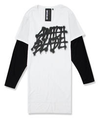 SWITCHBLADE (スウィッチブレード) 1701109 / SPRAY LOGO LAYERED L/TEE - WHITE/BLACK