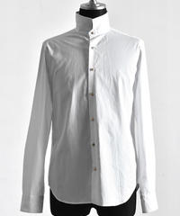 Bennu (ヴェンヌ)110330403 / 100'S Broad Stand Collar Dress Shirt-WHITE
