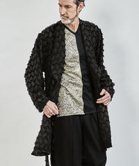 ys Yuji SUGENO (イース ユウジ スゲノ) 210330301-BLACK / Fringe cut jacquard shawl collar shirt gown