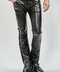 ys Yuji SUGENO (イース ユウジ スゲノ)  210340505-BLACK / Royal Leather Changing Stretch  boot cut Pants