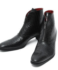 ys Yuji SUGENO (イース ユウジ スゲノ)  210854202 / Aisle Croco Front Zip Heel Boots - BLACK