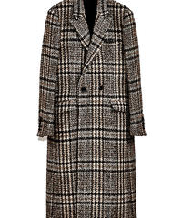 ys Yuji SUGENO (イース ユウジ スゲノ) 210331106-CHECK / Loop check tweed semi-double long coat