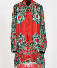 ys Yuji SUGENO (イース ユウジ スゲノ) 210330401-RED / Panel print short collar semi-long shirt