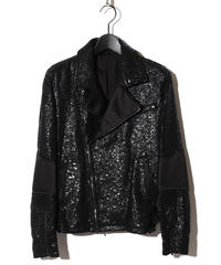 ys Yuji SUGENO (イース ユウジ スゲノ) 210830904 / Black Foil Tweed Double Riders Jacket