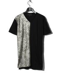 ys Yuji SUGENO (イース ユウジ スゲノ)  220210112 / Foil Print Changing V-neck T-BLACK