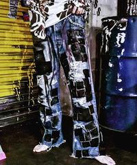 -逆走芸術-Paint Denim×Leather Crust Pants