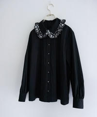 Foil lace blouse BLACKxSILVER