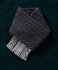Hand aran knit scarf GRAY×SILVER