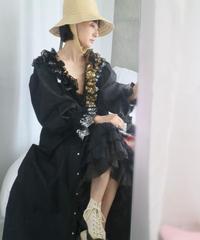 Foil lace dress BLACK