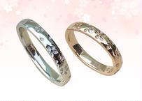 桜指輪 プラチナ&ピンクゴールド – ペアリング – ダイヤメレ入り –