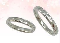 桜指輪 プラチナ(pt950)– ペアリング – ダイヤメレ入り –