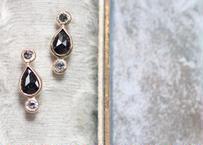 Pear shape rose cut diamond +K14ピアス