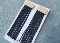 Leather Long Fringe Earrings(navy)