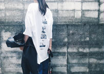 【Relax】Back Print Big Silhouette Tee ( White )