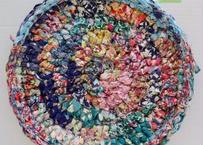 リバティ裂き編みコースター(18)・Lサイズ・直径約16cm