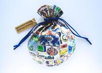 リバティキャンディ巾着・コスメ柄・フォゲットミーノット・ブルー(リボン青) 2