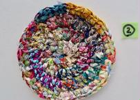 リバティ裂き編みコースター(2)・Sサイズ・直径約10.5cm