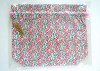 リバティトラベル巾着 セランダイン・ピンク(お客様レビューあり)