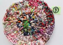 リバティ裂き編みコースター(3)・Sサイズ・直径約11.5cm