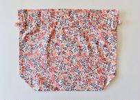 リバティトラベル巾着・ウィルトシャー・サーモンピンク