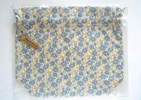 リバティトラベル巾着 セランダイン・グレーブルーイエロー(お客様レビューあり)