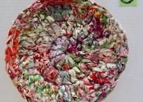 リバティ裂き編みコースター(10)・Sサイズ・直径約11.5cm