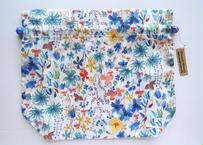 リバティトラベル巾着・ホワイトブルーフラワー