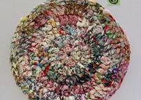 リバティ裂き編みコースター(21)・LLサイズ・直径約19cm