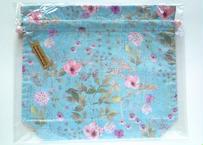リバティトラベル巾着・イルマ(70%縮小サイズ)・水色