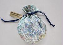 リバティキャンディ巾着・ガーデンパッチワーク・ブルー