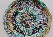リバティ裂き編みコースター(19)・Lサイズ・直径約16cm