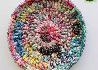 リバティ裂き編みコースター(17)・Lサイズ・直径約16cm