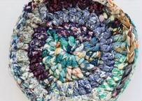 リバティ裂き編みコースター(16)・Mサイズ・直径約13.5cm