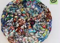 リバティ裂き編みコースター(11)・Sサイズ・直径約11.5cm